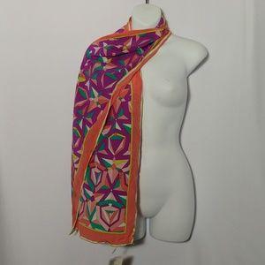 """Emilio Pucci Oblong Silk Scarf Mod Print 12"""" X 67"""""""